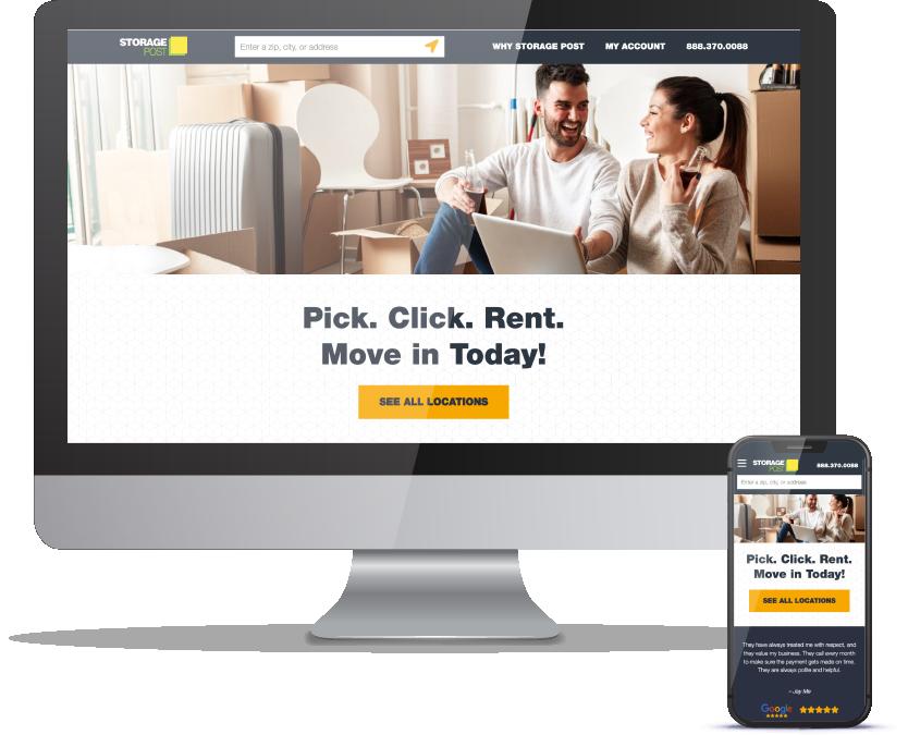 Storage Post website, desktop and mobile